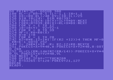 Commodore 64 BASIC 8×8 Mandelbrot set: faster version