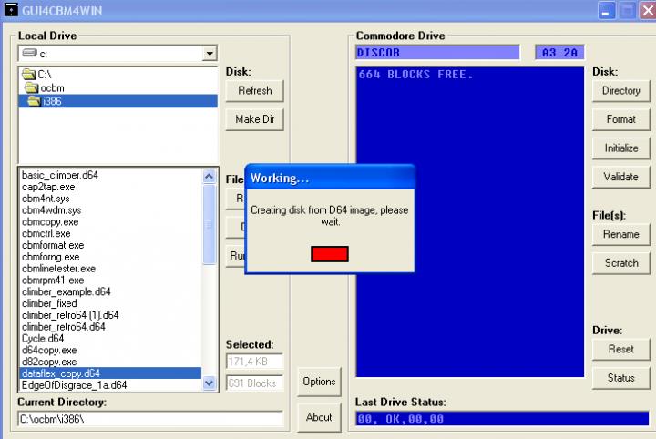 Sharing data between PC and C64  My PC setup using OpenCBM