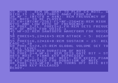 Commodore 64 SID music programming with BASIC – playing a note