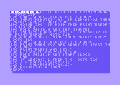 """Commodore 64 clock using the CIA TOD clock (from """"Compute!"""")"""
